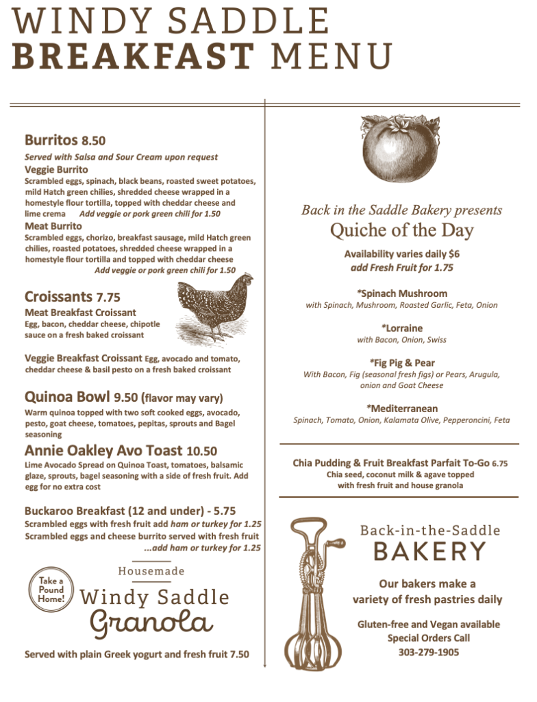 Windy Saddle Cafe Breakfast Menu