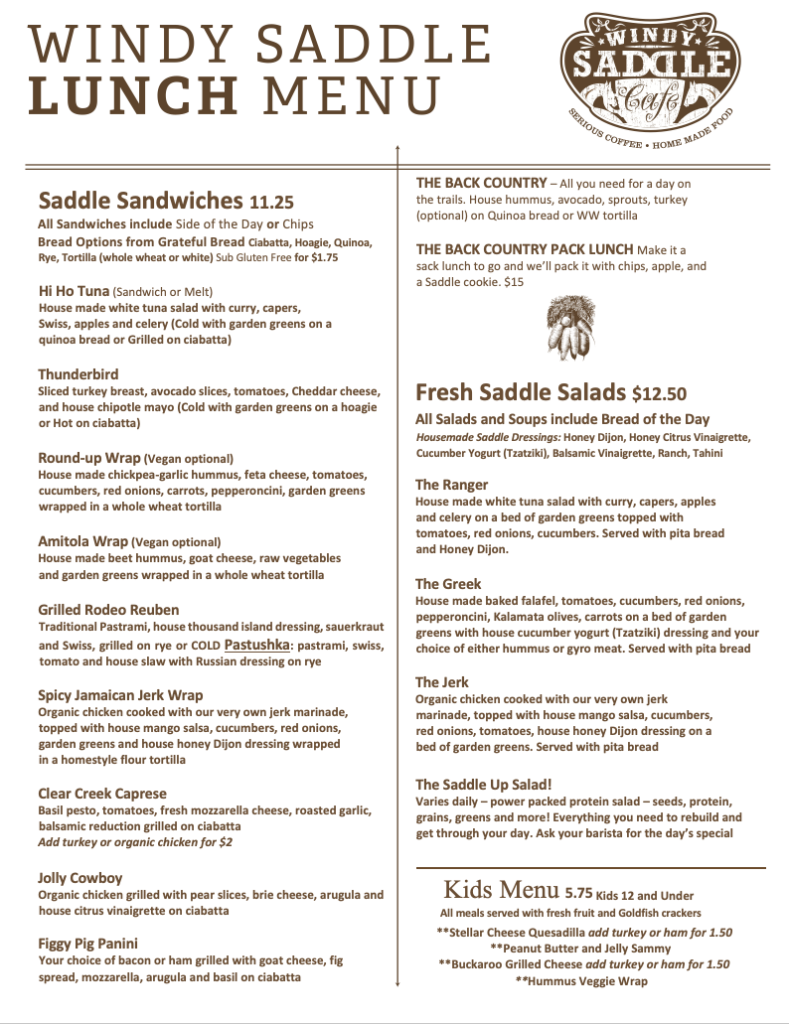 Windy Saddle Cafe Lunch menu